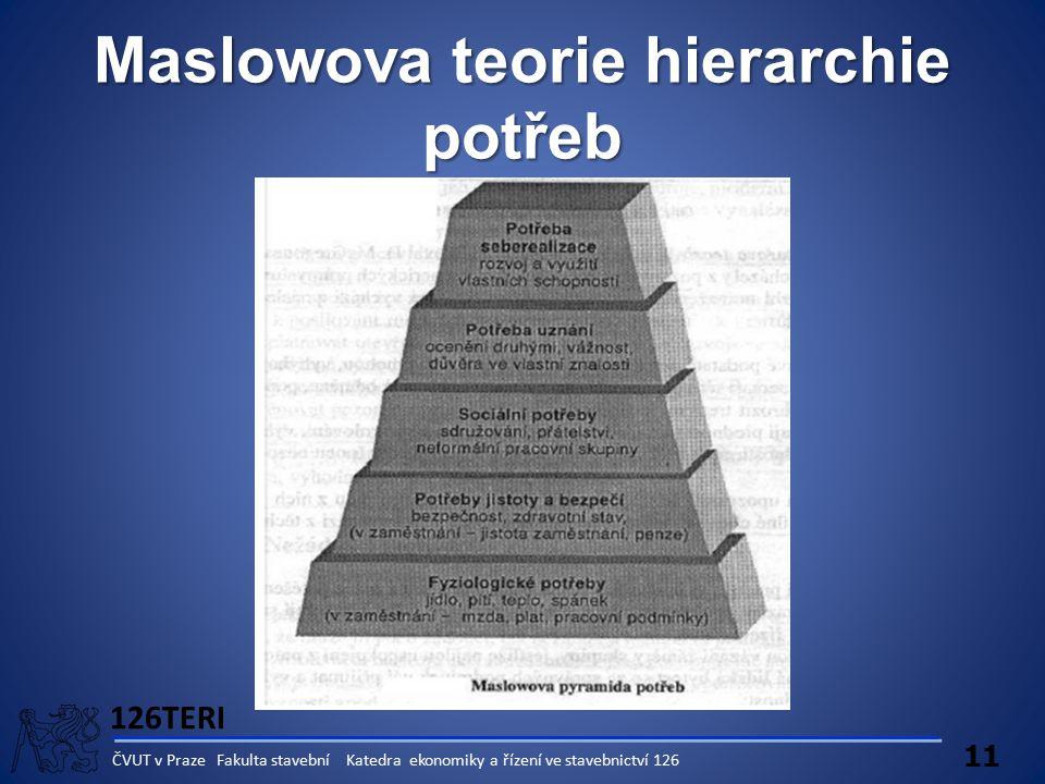 126TERI 11 ČVUT v Praze Fakulta stavební Katedra ekonomiky a řízení ve stavebnictví 126 Maslowova teorie hierarchie potřeb