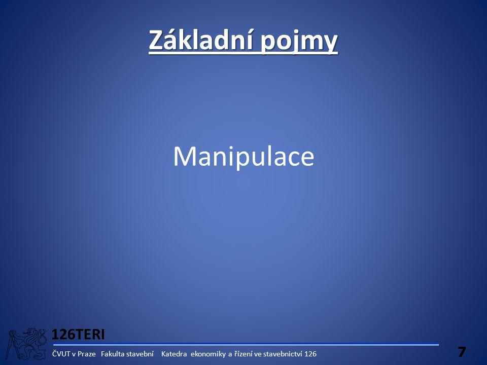 126TERI 7 ČVUT v Praze Fakulta stavební Katedra ekonomiky a řízení ve stavebnictví 126 Manipulace Základní pojmy