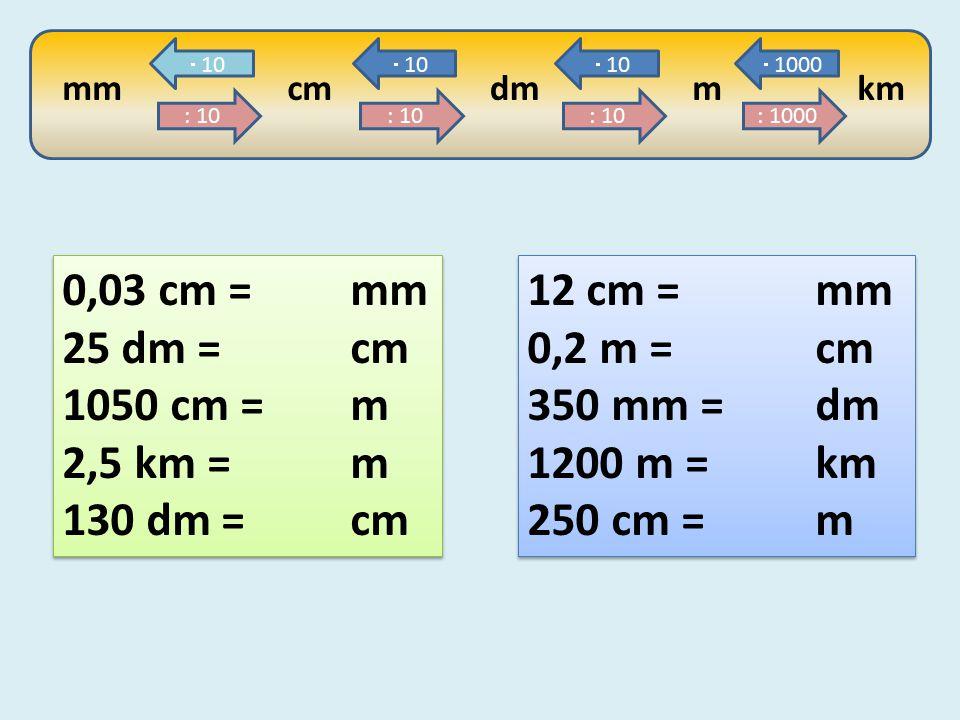 mm : 10 cm : 10 dm : 10 m : 1000 km  10  1000 0,03 cm = mm 25 dm =cm 1050 cm = m 2,5 km = m 130 dm = cm 0,03 cm = mm 25 dm =cm 1050 cm = m 2,5 km = m 130 dm = cm 12 cm =mm 0,2 m =cm 350 mm = dm 1200 m =km 250 cm = m 12 cm =mm 0,2 m =cm 350 mm = dm 1200 m =km 250 cm = m