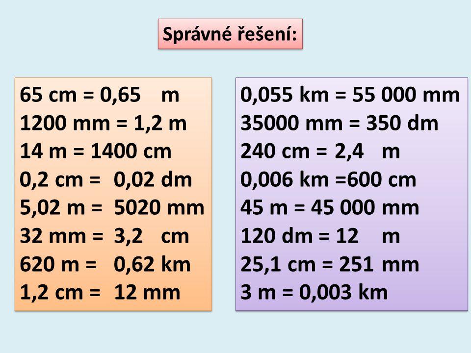 Správné řešení: 65 cm = 0,65m 1200 mm = 1,2 m 14 m = 1400 cm 0,2 cm =0,02dm 5,02 m =5020 mm 32 mm =3,2cm 620 m =0,62km 1,2 cm =12 mm 65 cm = 0,65m 1200 mm = 1,2 m 14 m = 1400 cm 0,2 cm =0,02dm 5,02 m =5020 mm 32 mm =3,2cm 620 m =0,62km 1,2 cm =12 mm 0,055 km = 55 000 mm 35000 mm = 350 dm 240 cm = 2,4m 0,006 km =600 cm 45 m = 45 000mm 120 dm = 12m 25,1 cm = 251mm 3 m = 0,003 km 0,055 km = 55 000 mm 35000 mm = 350 dm 240 cm = 2,4m 0,006 km =600 cm 45 m = 45 000mm 120 dm = 12m 25,1 cm = 251mm 3 m = 0,003 km