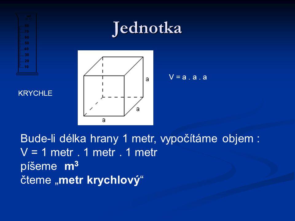 Objem Odvozená fyzikální veličina Odvozená fyzikální veličina Značka ………………………….V Značka ………………………….V Základní jednotka ……………..m 3 Základní jednotka ……………..m 3