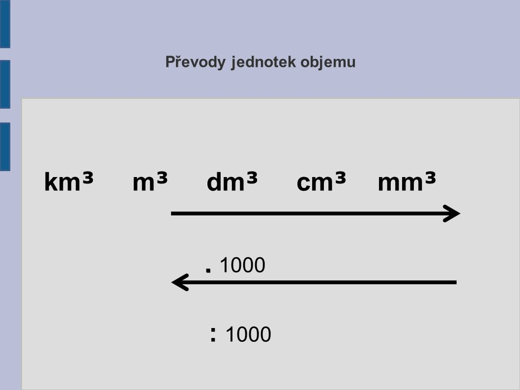 Převody jednotek objemu km ³ m ³ dm ³ cm ³ mm ³.. 1000 : 1000