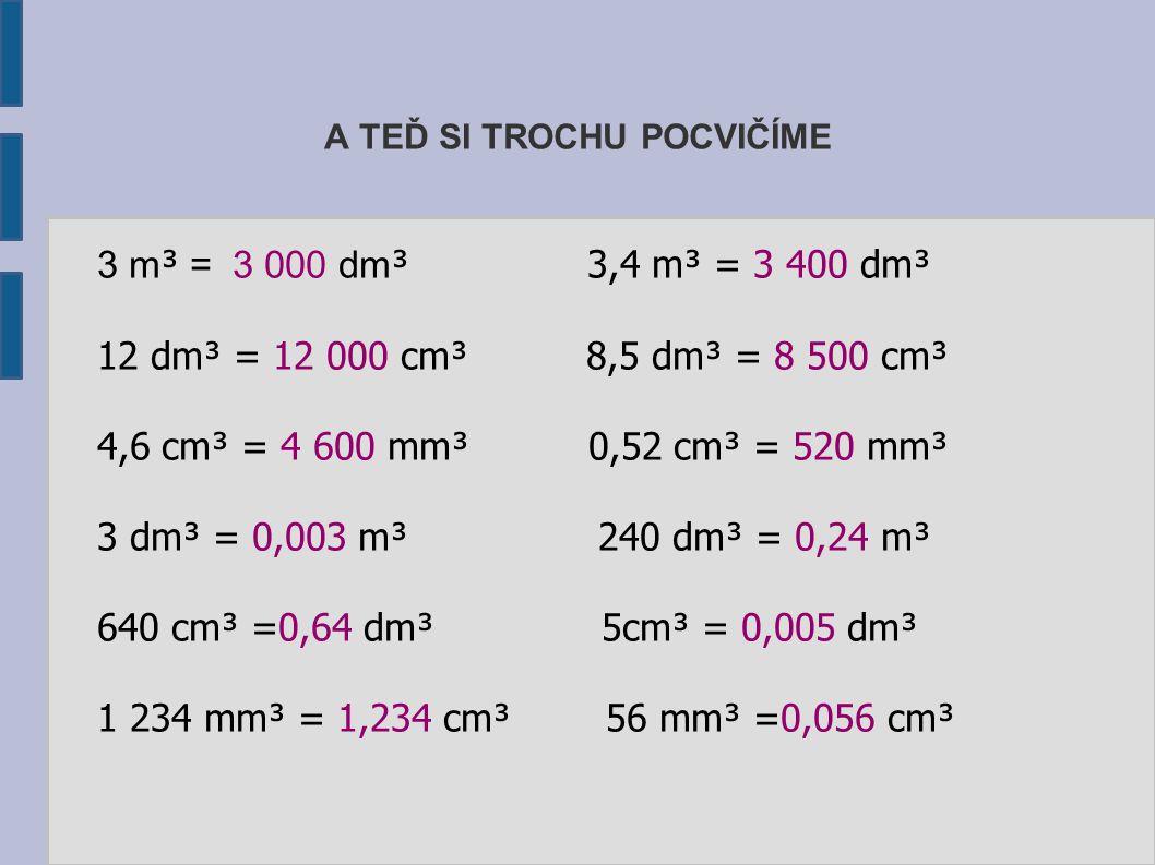 A TEĎ SI TROCHU POCVIČÍME 3 m³ m³ = 3 000 dm ³ 3,4 m³ = 3 400 dm³ 12 dm³ = 12 000 cm³ 8,5 dm³ = 8 500 cm³ 4,6 cm³ = 4 600 mm³ 0,52 cm³ = 520 mm³ 3 dm³