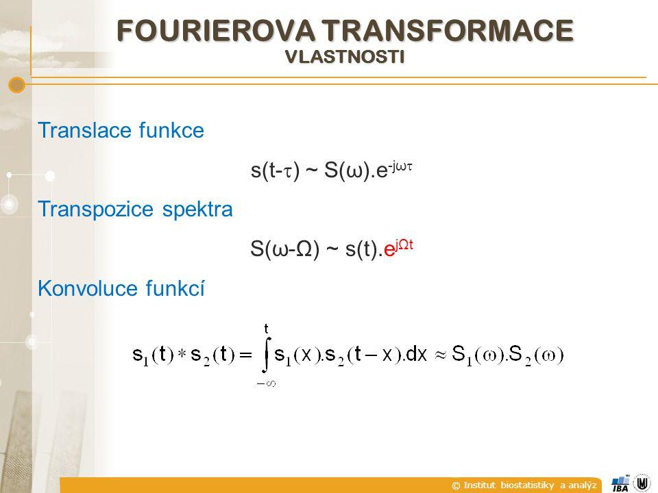 © Institut biostatistiky a analýz Translace funkce s(t-  ) ~ S(ω).e -jω  Transpozice spektra S(ω-Ω) ~ s(t).e jΩt Konvoluce funkcí FOURIEROVA TRANSFORMACE VLASTNOSTI