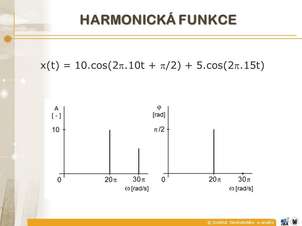 © Institut biostatistiky a analýz x(t) = 10.cos(2.10t + /2) + 5.cos(2.15t) HARMONICKÁ FUNKCE
