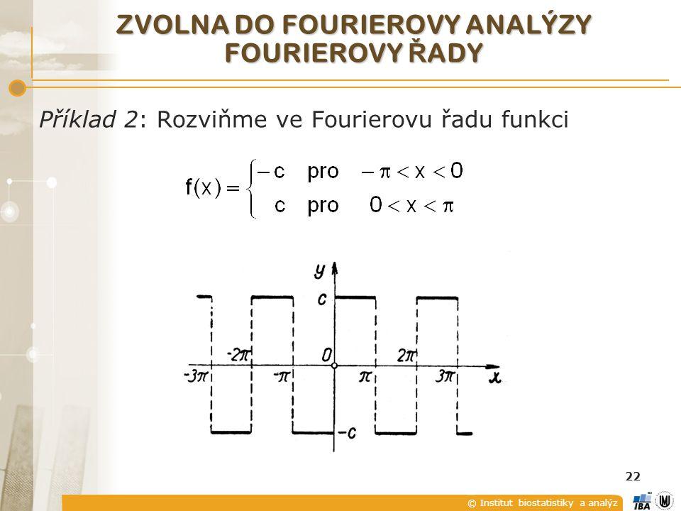 © Institut biostatistiky a analýz 22 ZVOLNA DO FOURIEROVY ANALÝZY FOURIEROVY Ř ADY Příklad 2: Rozviňme ve Fourierovu řadu funkci