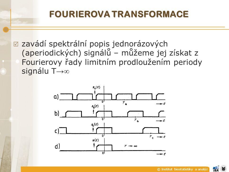 © Institut biostatistiky a analýz FOURIEROVA TRANSFORMACE  zavádí spektrální popis jednorázových (aperiodických) signálů – můžeme jej získat z Fourierovy řady limitním prodloužením periody signálu T → 