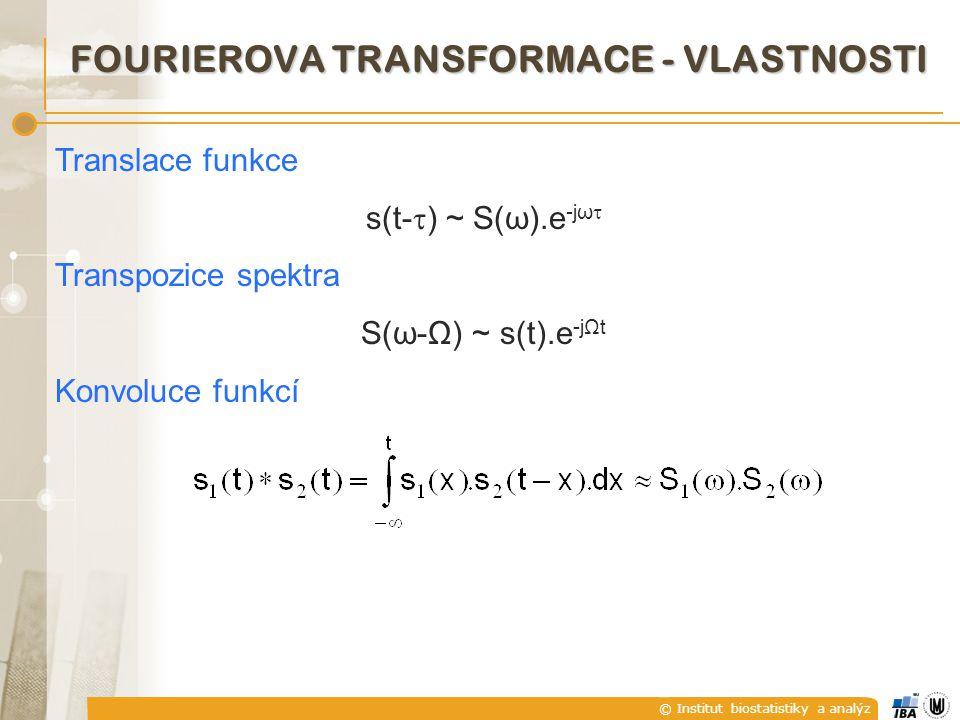 © Institut biostatistiky a analýz Translace funkce s(t-  ) ~ S(ω).e -jω  Transpozice spektra S(ω-Ω) ~ s(t).e -jΩt Konvoluce funkcí FOURIEROVA TRANSFORMACE - VLASTNOSTI