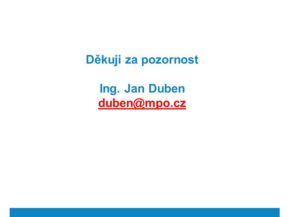 Děkuji za pozornost Ing. Jan Duben duben@mpo.cz duben@mpo.cz
