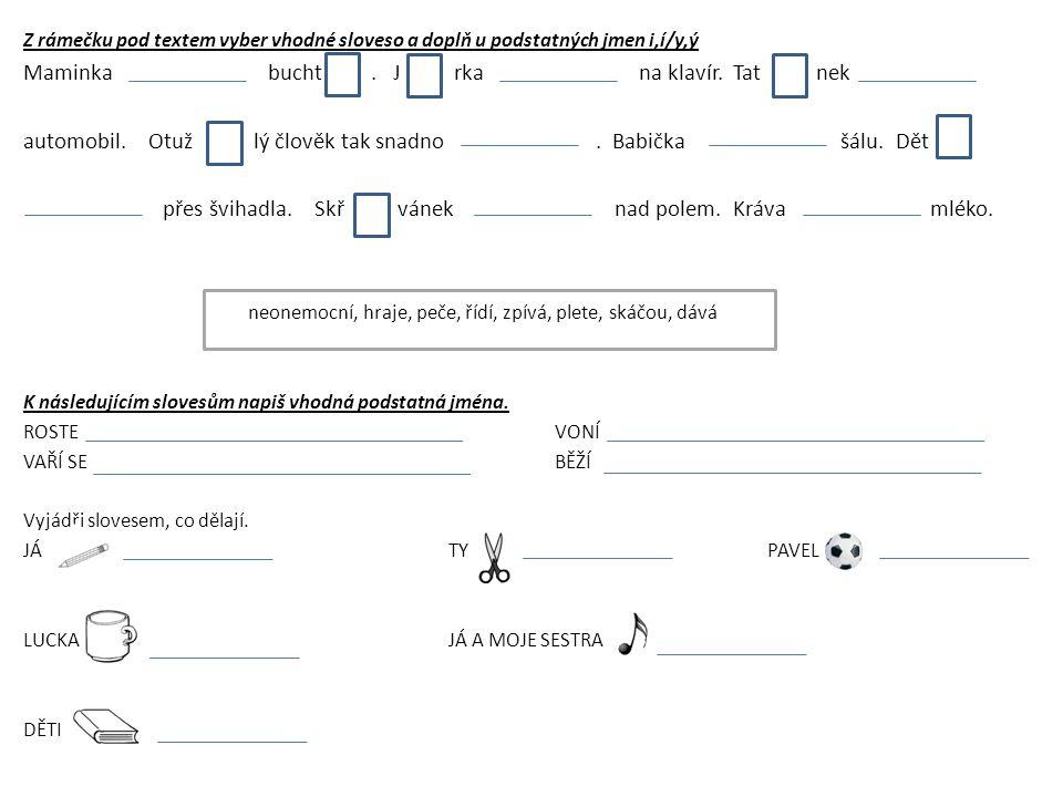 Z rámečku pod textem vyber vhodné sloveso a doplň u podstatných jmen i,í/y,ý Maminka bucht.