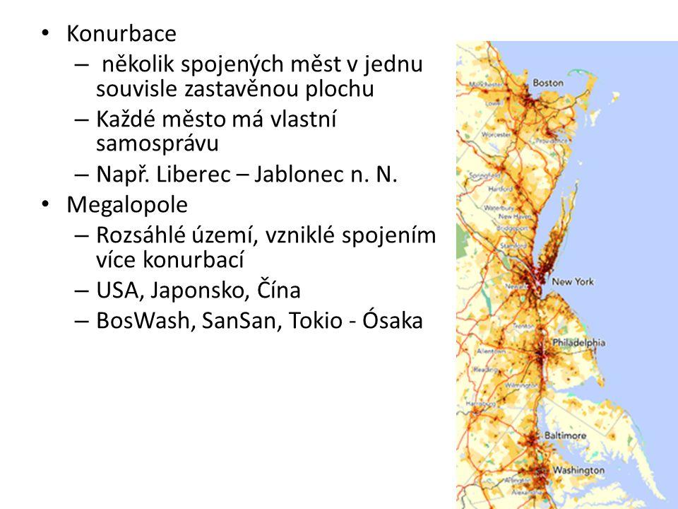 Konurbace – několik spojených měst v jednu souvisle zastavěnou plochu – Každé město má vlastní samosprávu – Např. Liberec – Jablonec n. N. Megalopole