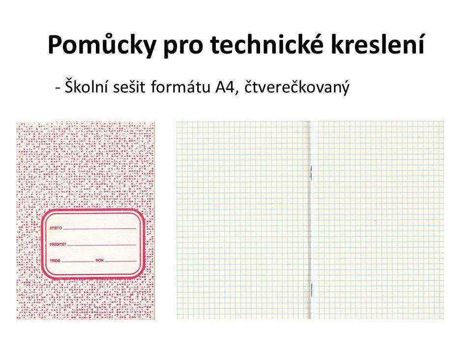 Pomůcky pro technické kreslení - Školní sešit formátu A4, čtverečkovaný