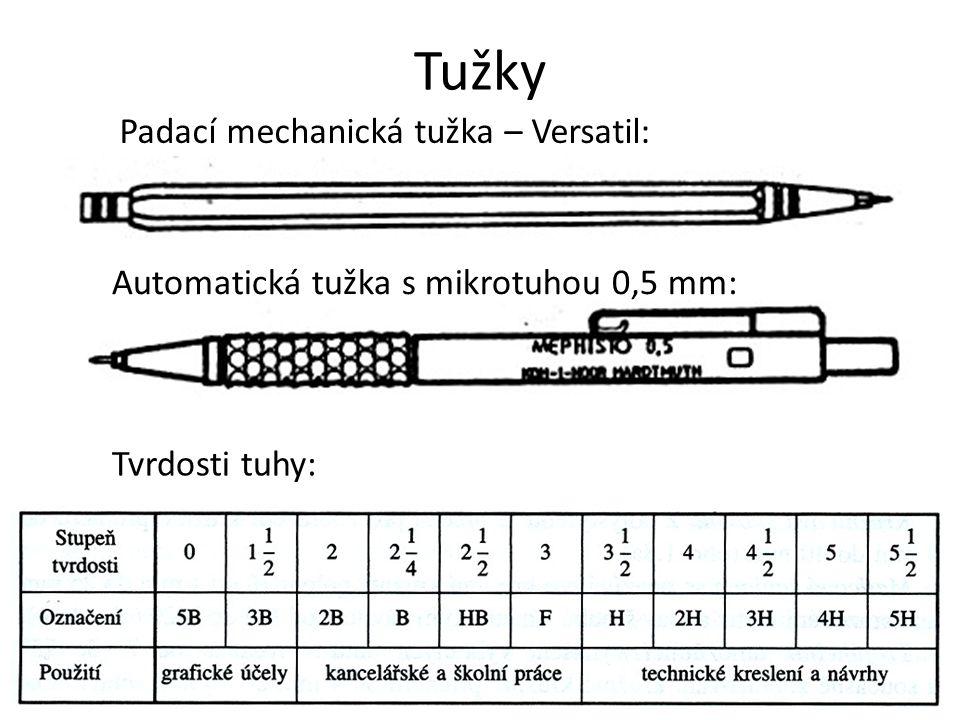 Tužky Padací mechanická tužka – Versatil: Automatická tužka s mikrotuhou 0,5 mm: Tvrdosti tuhy: