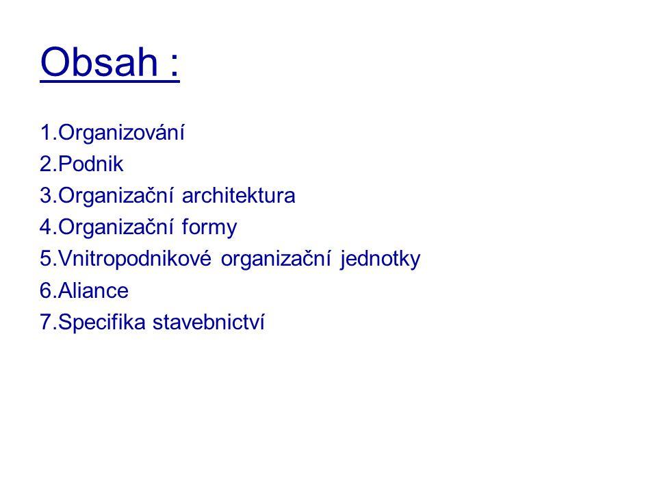 Obsah : 1.Organizování 2.Podnik 3.Organizační architektura 4.Organizační formy 5.Vnitropodnikové organizační jednotky 6.Aliance 7.Specifika stavebnict