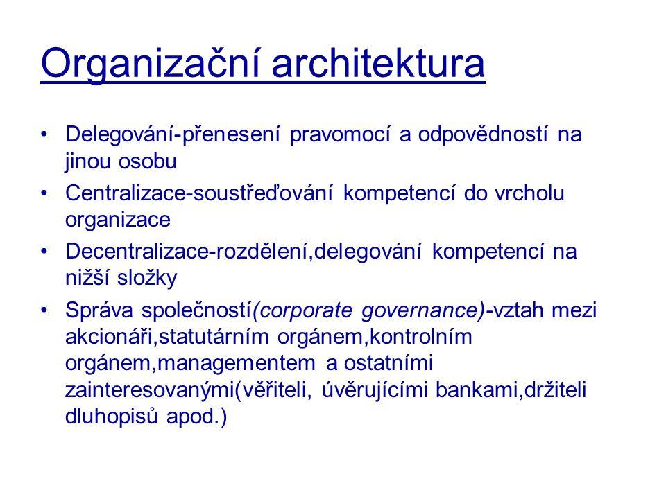 Organizační architektura Delegování-přenesení pravomocí a odpovědností na jinou osobu Centralizace-soustřeďování kompetencí do vrcholu organizace Dece