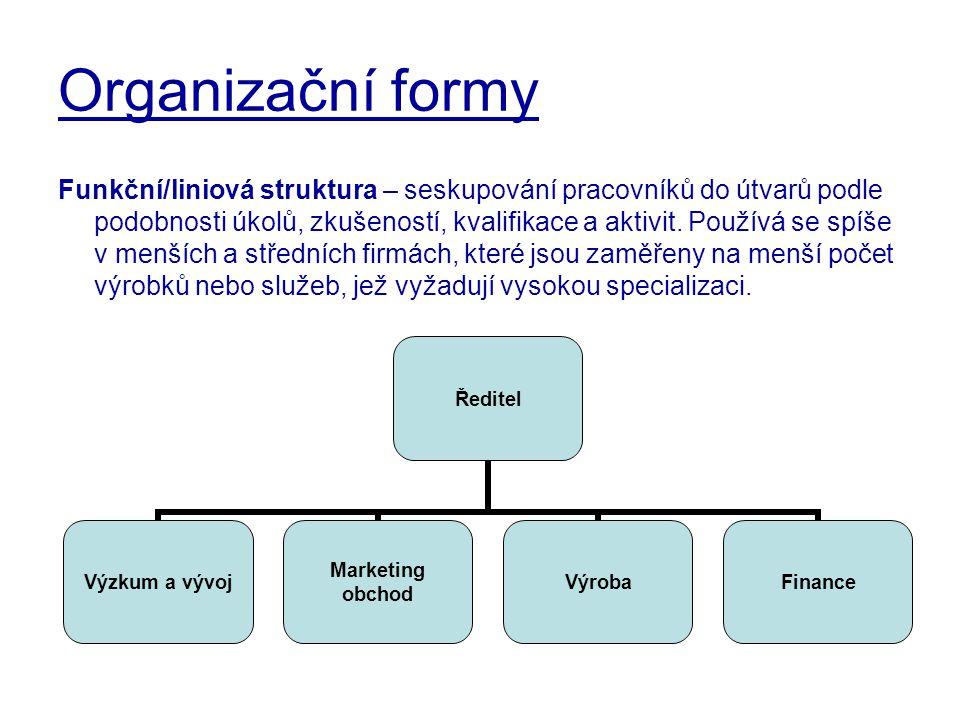 Organizační formy Funkční/liniová struktura – seskupování pracovníků do útvarů podle podobnosti úkolů, zkušeností, kvalifikace a aktivit. Používá se s