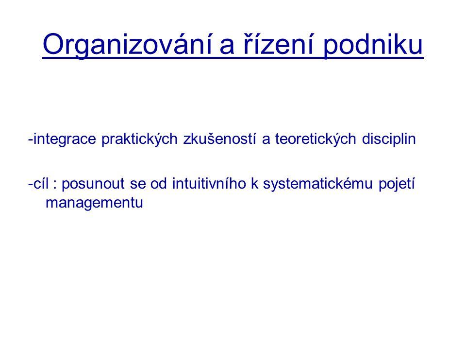 Organizování a řízení podniku -integrace praktických zkušeností a teoretických disciplin -cíl : posunout se od intuitivního k systematickému pojetí ma