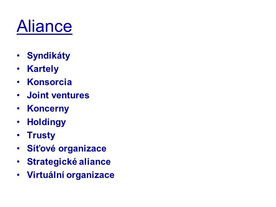 Aliance Syndikáty Kartely Konsorcia Joint ventures Koncerny Holdingy Trusty Síťové organizace Strategické aliance Virtuální organizace