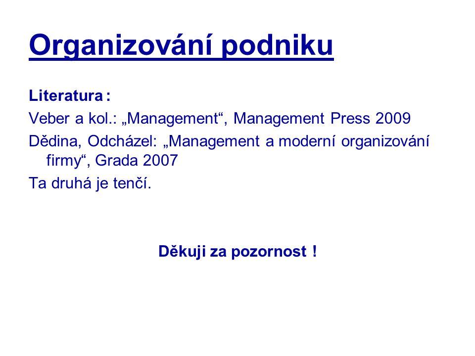 """Organizování podniku Literatura : Veber a kol.: """"Management"""", Management Press 2009 Dědina, Odcházel: """"Management a moderní organizování firmy"""", Grada"""
