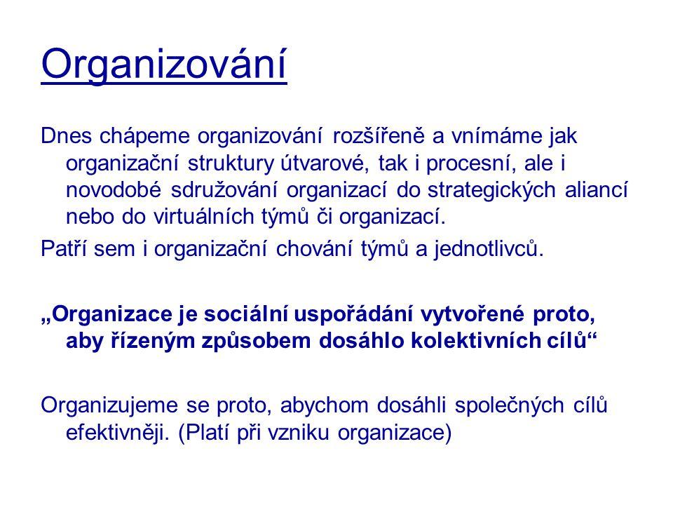 Organizování Dnes chápeme organizování rozšířeně a vnímáme jak organizační struktury útvarové, tak i procesní, ale i novodobé sdružování organizací do