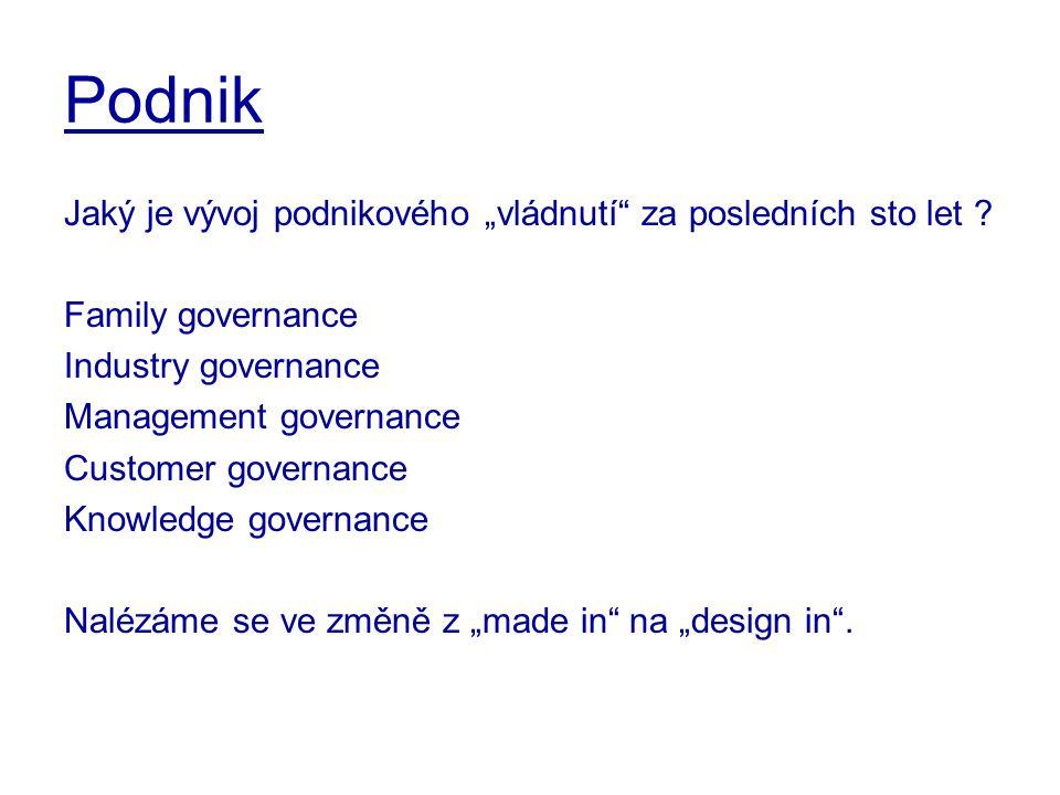 """Podnik Jaký je vývoj podnikového """"vládnutí"""" za posledních sto let ? Family governance Industry governance Management governance Customer governance Kn"""