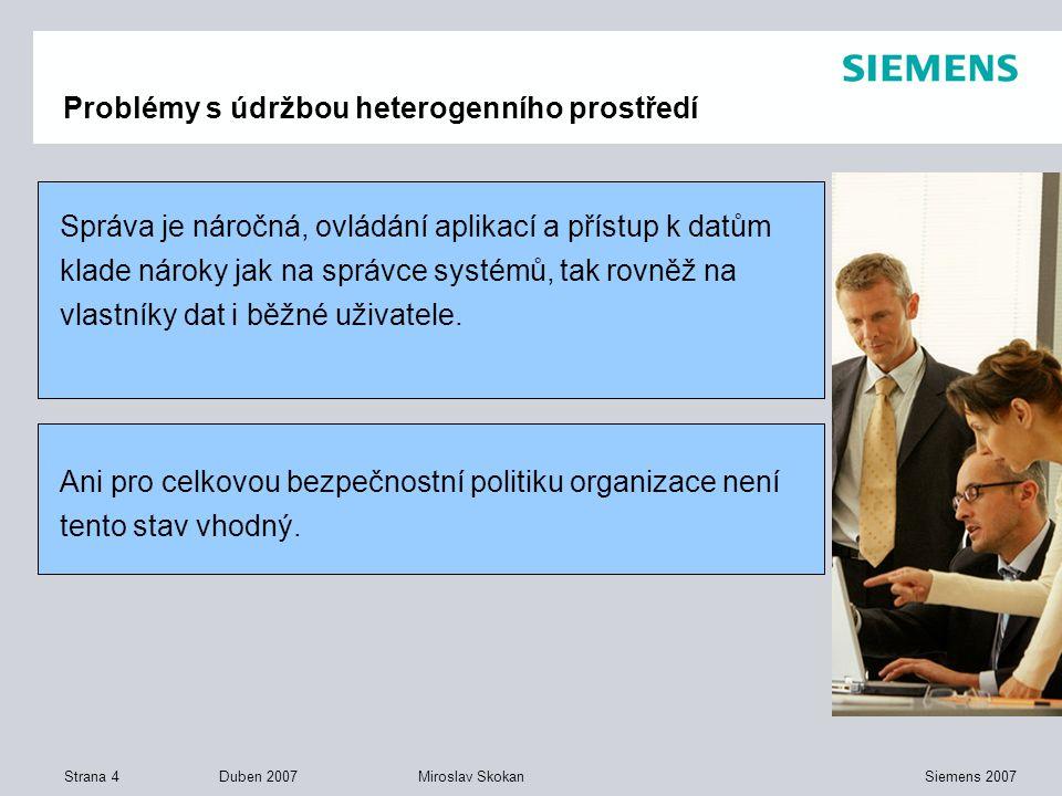 Strana 4 Duben 2007 Siemens 2007Miroslav Skokan Problémy s údržbou heterogenního prostředí Správa je náročná, ovládání aplikací a přístup k datům klad