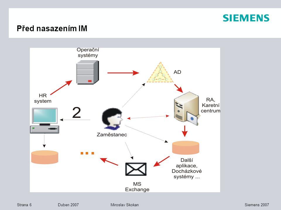 Strana 6 Duben 2007 Siemens 2007Miroslav Skokan Před nasazením IM