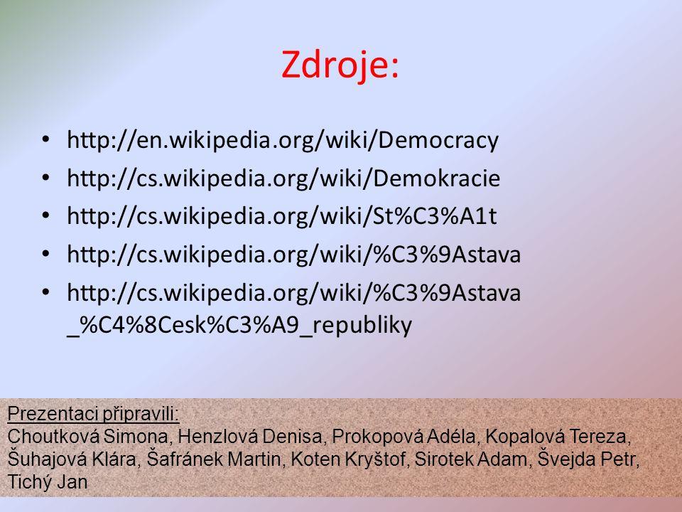 Zdroje: http://en.wikipedia.org/wiki/Democracy http://cs.wikipedia.org/wiki/Demokracie http://cs.wikipedia.org/wiki/St%C3%A1t http://cs.wikipedia.org/