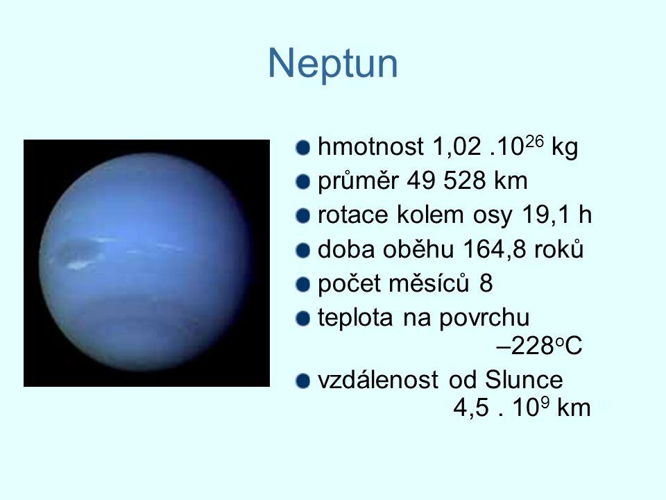 Neptun hmotnost 1,02.10 26 kg průměr 49 528 km rotace kolem osy 19,1 h doba oběhu 164,8 roků počet měsíců 8 teplota na povrchu –228 o C vzdálenost od