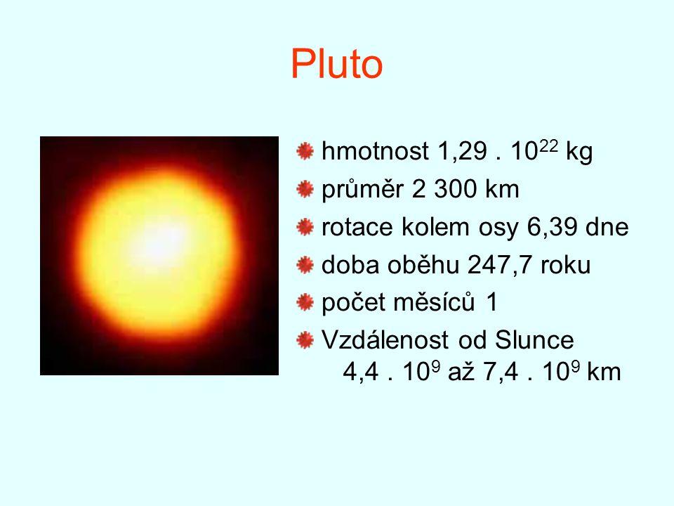 Pluto hmotnost 1,29. 10 22 kg průměr 2 300 km rotace kolem osy 6,39 dne doba oběhu 247,7 roku počet měsíců 1 Vzdálenost od Slunce 4,4. 10 9 až 7,4. 10