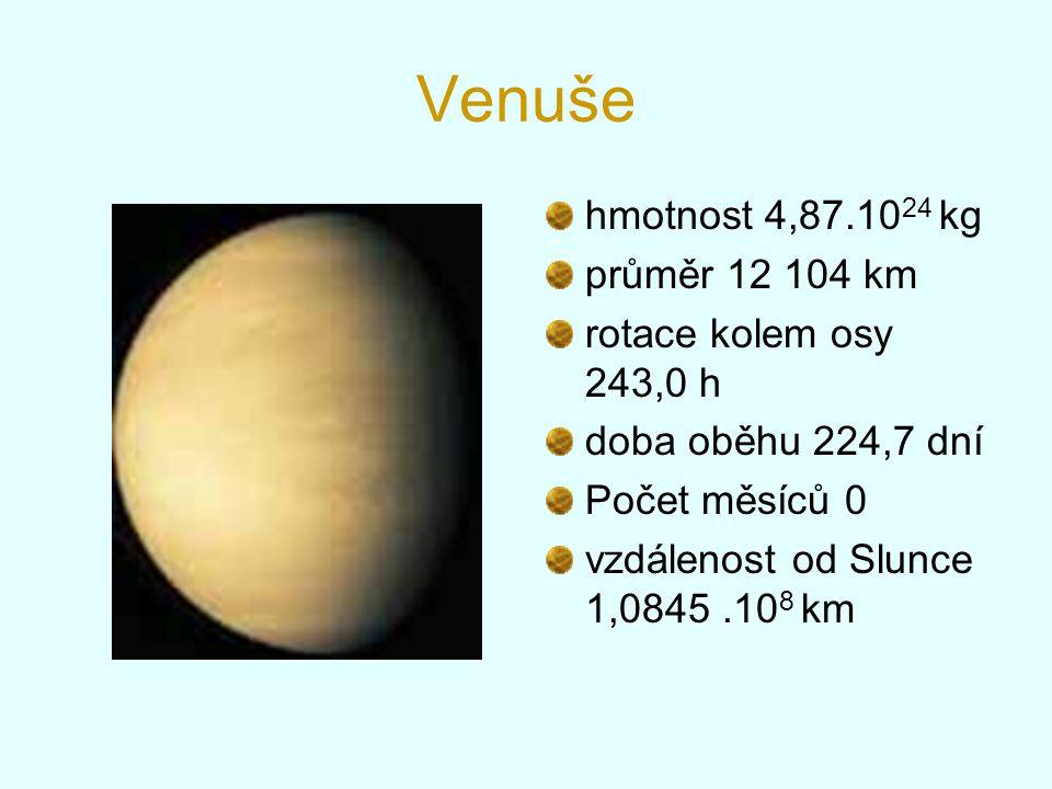 Venuše hmotnost 4,87.10 24 kg průměr 12 104 km rotace kolem osy 243,0 h doba oběhu 224,7 dní Počet měsíců 0 vzdálenost od Slunce 1,0845.10 8 km