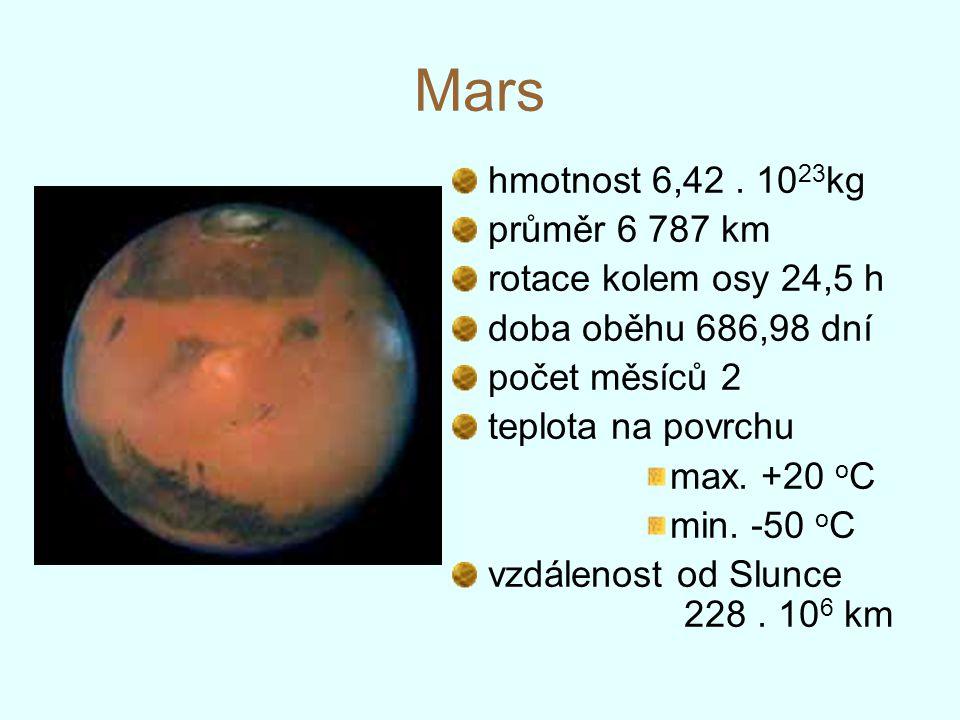 Mars hmotnost 6,42. 10 23 kg průměr 6 787 km rotace kolem osy 24,5 h doba oběhu 686,98 dní počet měsíců 2 teplota na povrchu max. +20 o C min. -50 o C