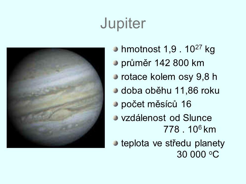 Jupiter hmotnost 1,9. 10 27 kg průměr 142 800 km rotace kolem osy 9,8 h doba oběhu 11,86 roku počet měsíců 16 vzdálenost od Slunce 778. 10 6 km teplot