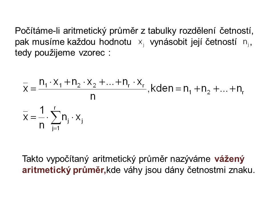 Počítáme-li aritmetický průměr z tabulky rozdělení četností, pak musíme každou hodnotu vynásobit její četností, tedy použijeme vzorec : Takto vypočítaný aritmetický průměr nazýváme vážený aritmetický průměr,kde váhy jsou dány četnostmi znaku.