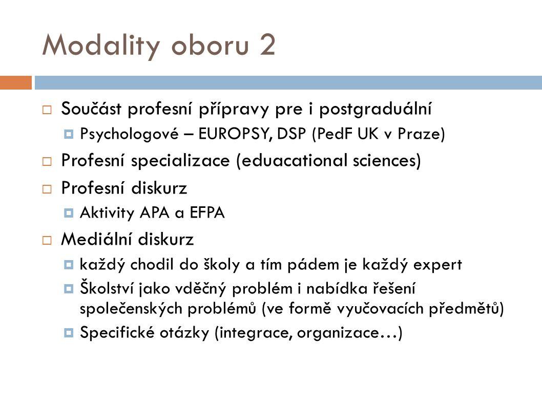 Modality oboru 2  Součást profesní přípravy pre i postgraduální  Psychologové – EUROPSY, DSP (PedF UK v Praze)  Profesní specializace (eduacational sciences)  Profesní diskurz  Aktivity APA a EFPA  Mediální diskurz  každý chodil do školy a tím pádem je každý expert  Školství jako vděčný problém i nabídka řešení společenských problémů (ve formě vyučovacích předmětů)  Specifické otázky (integrace, organizace…)
