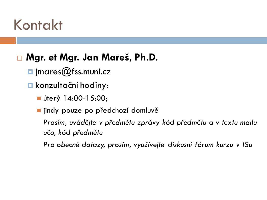 Kontakt  Mgr.et Mgr. Jan Mareš, Ph.D.