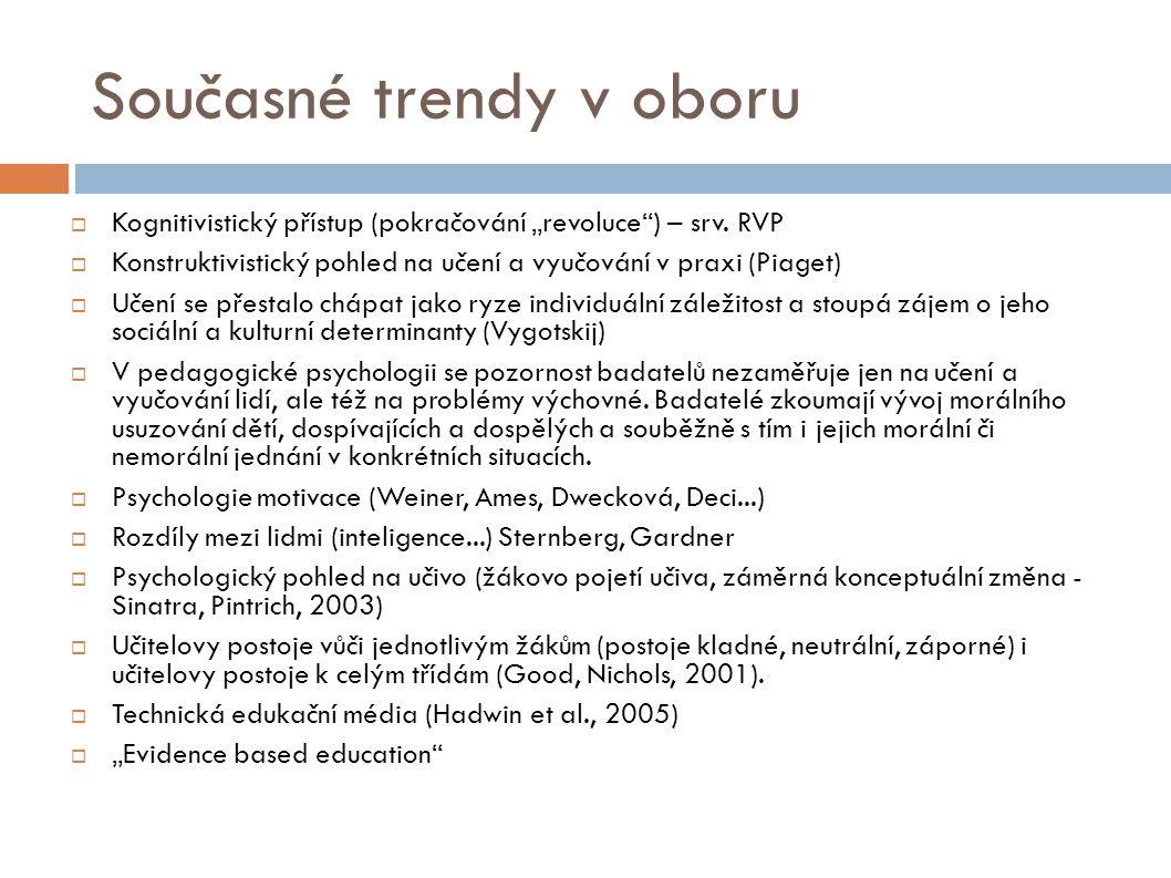 """Současné trendy v oboru  Kognitivistický přístup (pokračování """"revoluce ) – srv."""