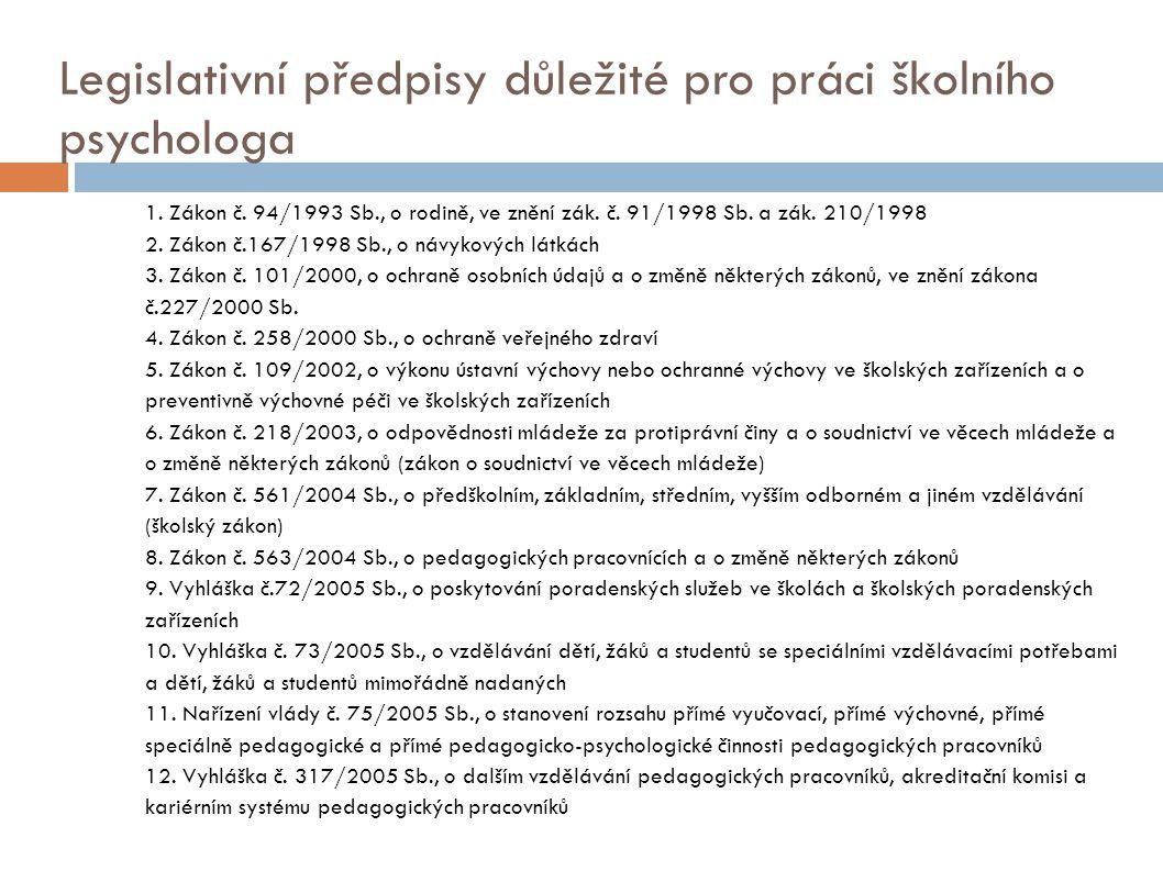 Legislativní předpisy důležité pro práci školního psychologa 1.