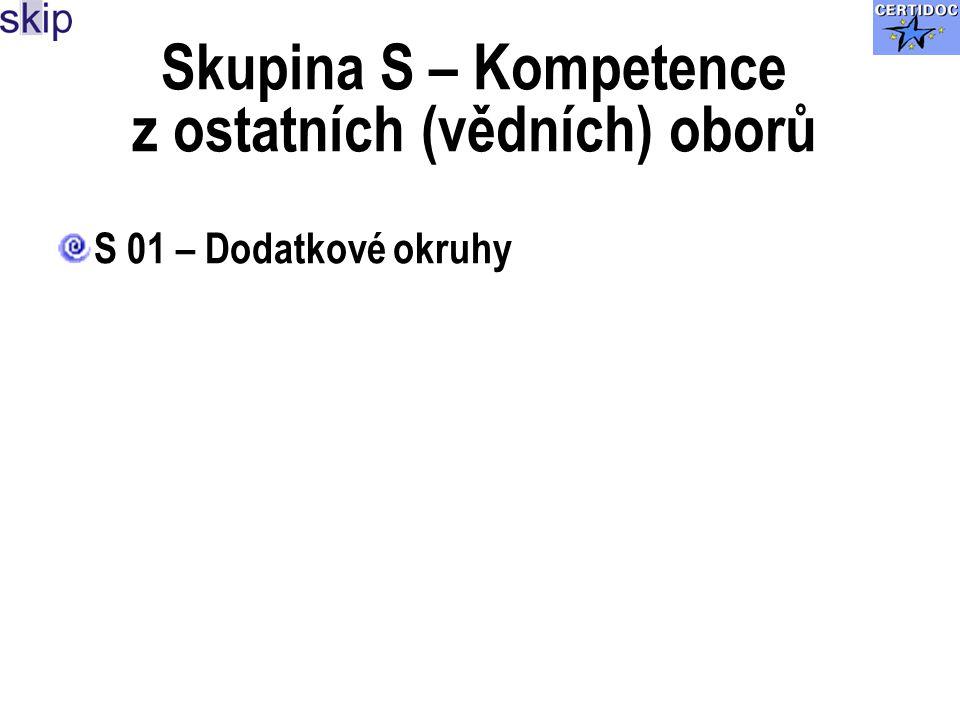 Skupina S – Kompetence z ostatních (vědních) oborů S 01 – Dodatkové okruhy