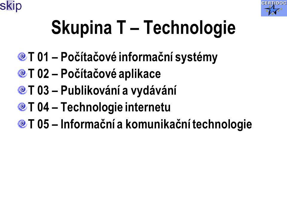 Skupina T – Technologie T 01 – Počítačové informační systémy T 02 – Počítačové aplikace T 03 – Publikování a vydávání T 04 – Technologie internetu T 05 – Informační a komunikační technologie