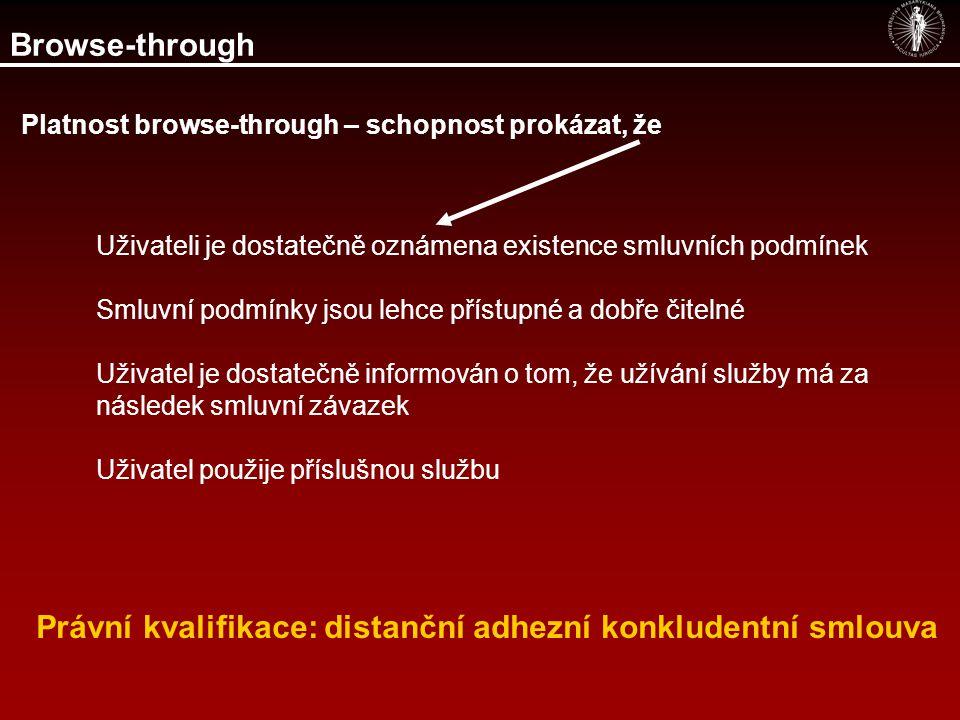 Browse-through Právní kvalifikace: distanční adhezní konkludentní smlouva Uživateli je dostatečně oznámena existence smluvních podmínek Smluvní podmín