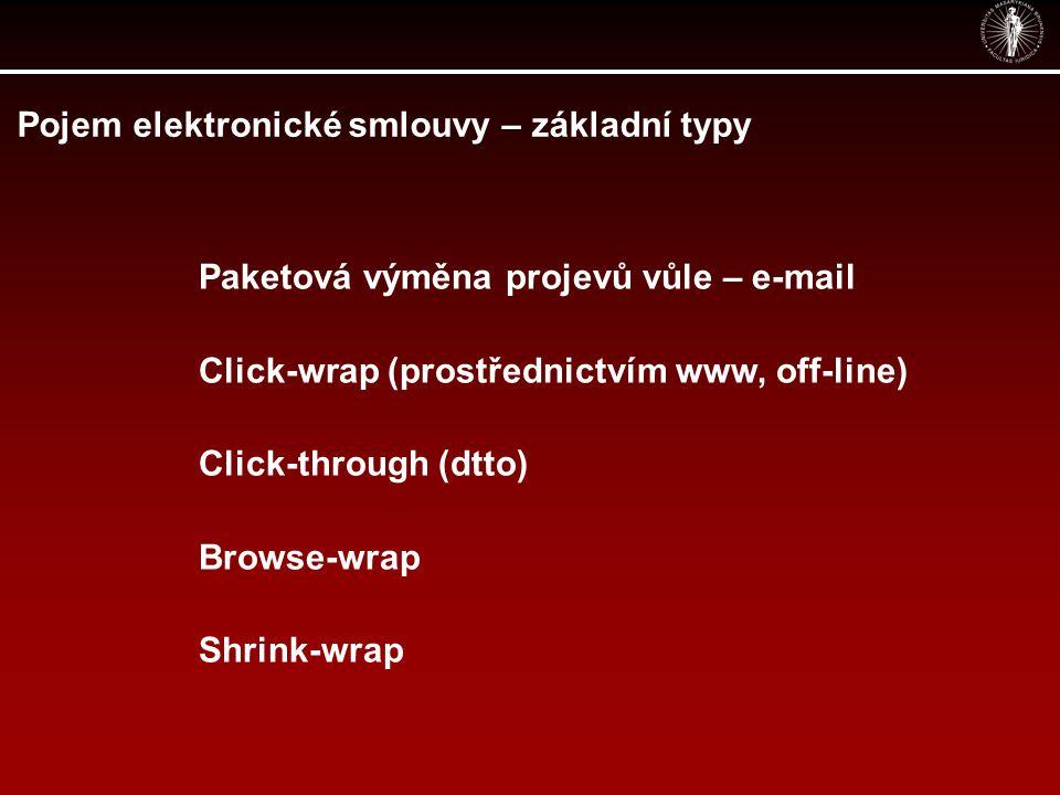 Pojem elektronické smlouvy – základní typy Paketová výměna projevů vůle – e-mail Click-wrap (prostřednictvím www, off-line) Click-through (dtto) Brows