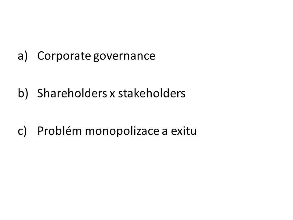 a)Corporate governance b)Shareholders x stakeholders c)Problém monopolizace a exitu
