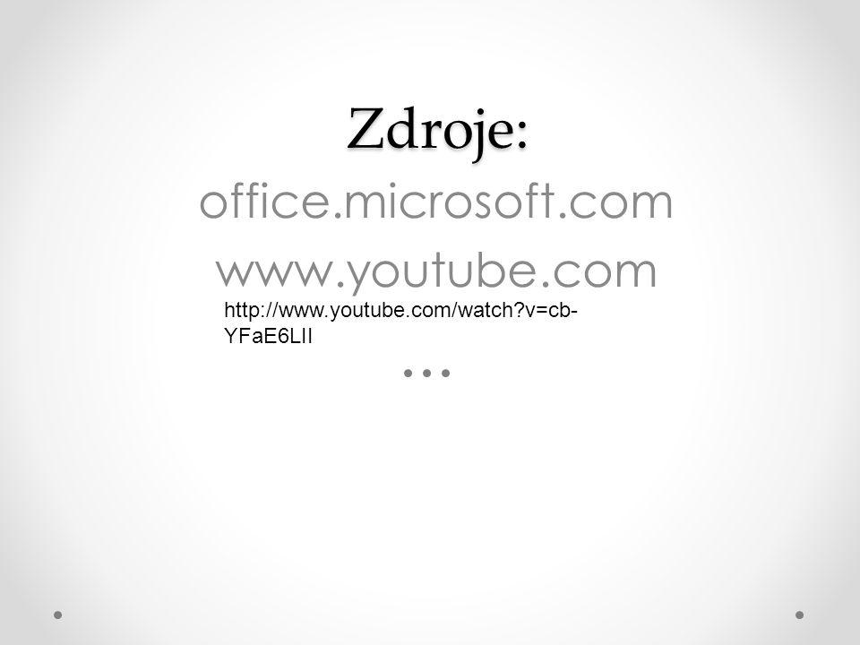Zdroje: Zdroje: office.microsoft.com www.youtube.com http://www.youtube.com/watch?v=cb- YFaE6LII