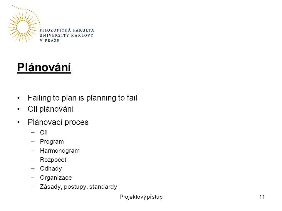 Plánování Failing to plan is planning to fail Cíl plánování Plánovací proces –Cíl –Program –Harmonogram –Rozpočet –Odhady –Organizace –Zásady, postupy, standardy Projektový přstup11