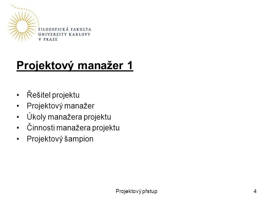 Projektový manažer 1 Řešitel projektu Projektový manažer Úkoly manažera projektu Činnosti manažera projektu Projektový šampion Projektový přstup4