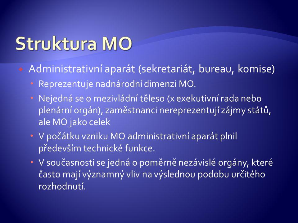  Administrativní aparát (sekretariát, bureau, komise)  Reprezentuje nadnárodní dimenzi MO.