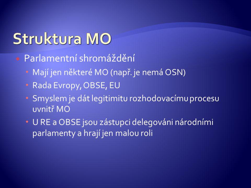  Parlamentní shromáždění  Mají jen některé MO (např.