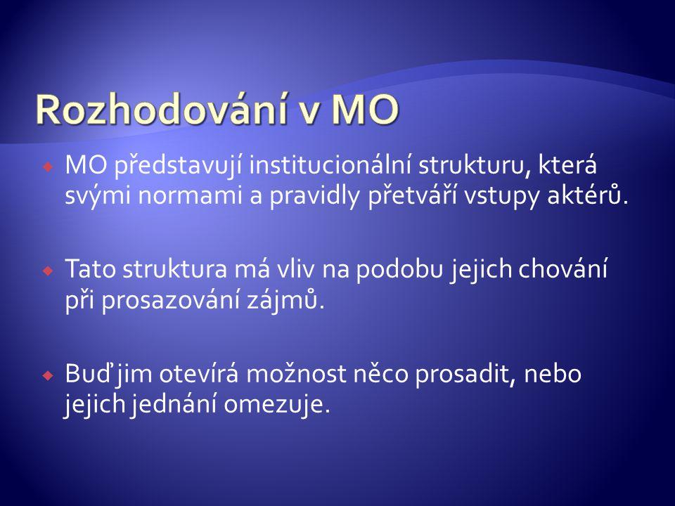  MO představují institucionální strukturu, která svými normami a pravidly přetváří vstupy aktérů.