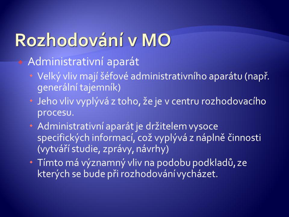  Administrativní aparát  Velký vliv mají šéfové administrativního aparátu (např.